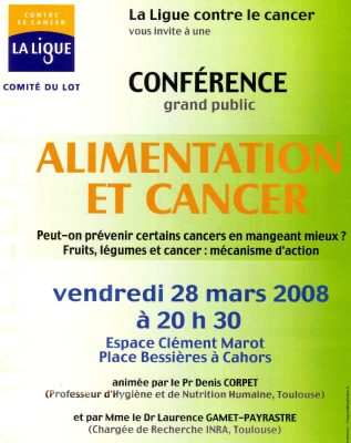 affiche conférence aliment cancer
