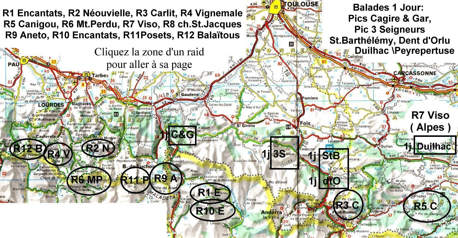 Carte des Pyrénées, Raids Famille Corpet: 12 randonnées boucles 4 ...